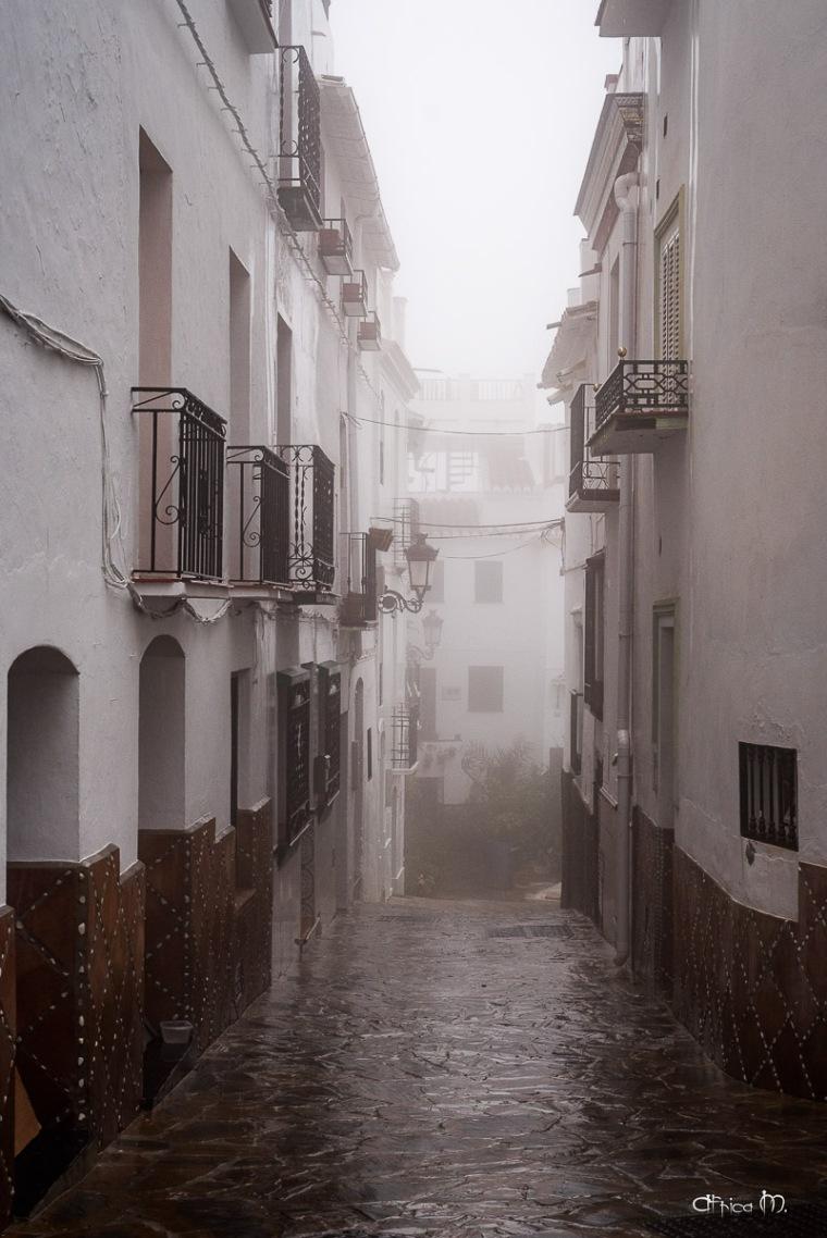 Calle bajo la lluvia